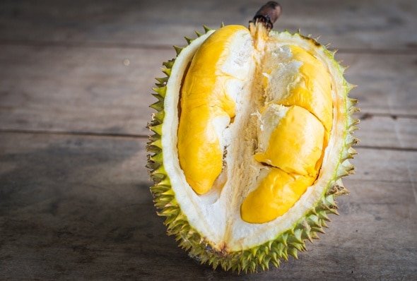 durian-on-wooden-table